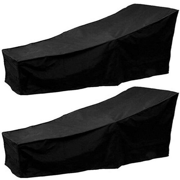 2Pcs 2 Outdoor Sunbed Cover 410D Oxford Cloth Sun Seat Cover Waterproof Gar