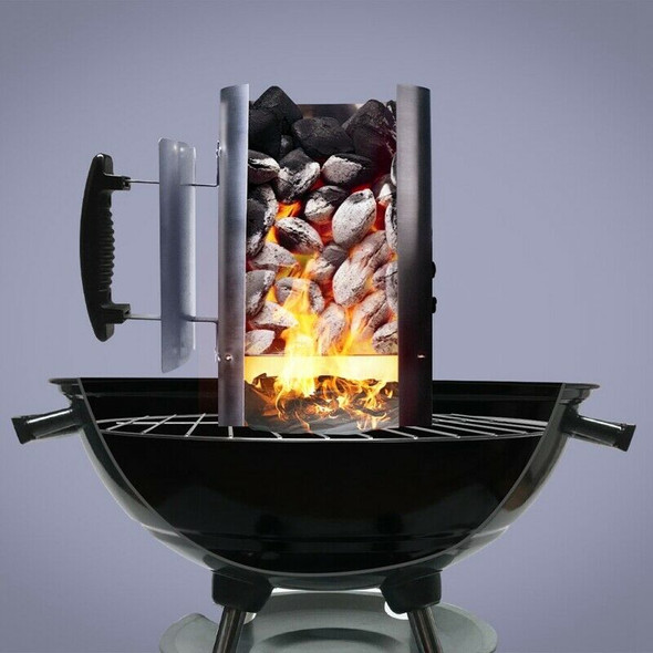 Grill Barbecue Bbq Galvanized Steel Chimney Lighter Basket Outdoor Cooking