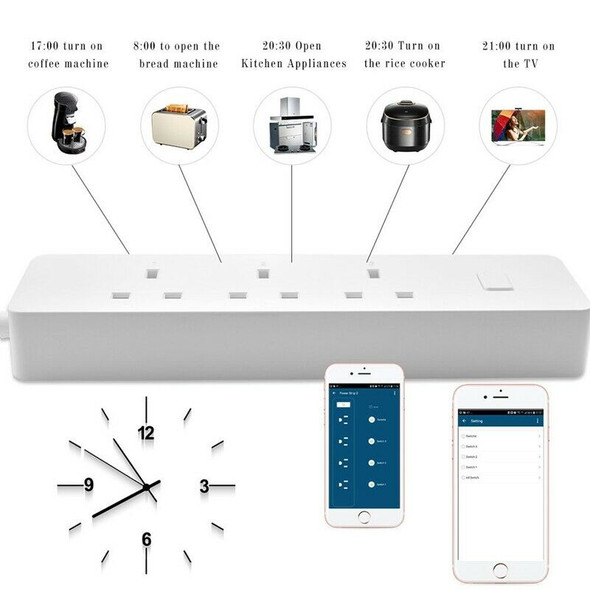 Smart Home Wifi Timer Extension 3 Uk Plug Power Strip 2usb Fast Charge Indi