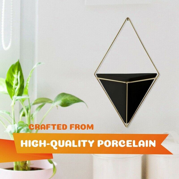 Geometric Wall Planter Set Of 2, Wall Hanging Decorative Mini Vases, Cerami