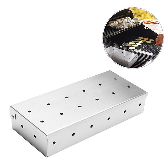 1X(Outdoor Barbecue Supplies Stainless Steel Smoking Box Barbecue Stainless