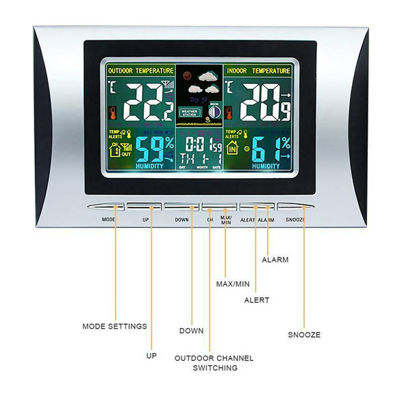 Wireless Weather Station, Indoor Outdoor Colorful Screen Thermometer With T
