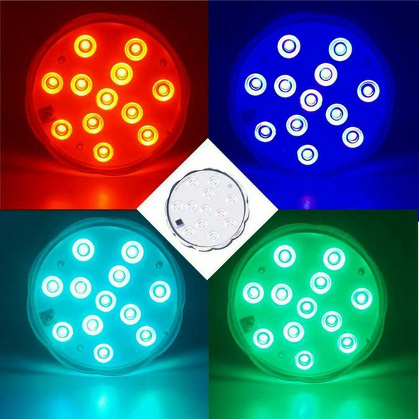 Upgraded 2x12-LED 3.9inch Submersible Led Lights, RGB Waterproof Battery Po