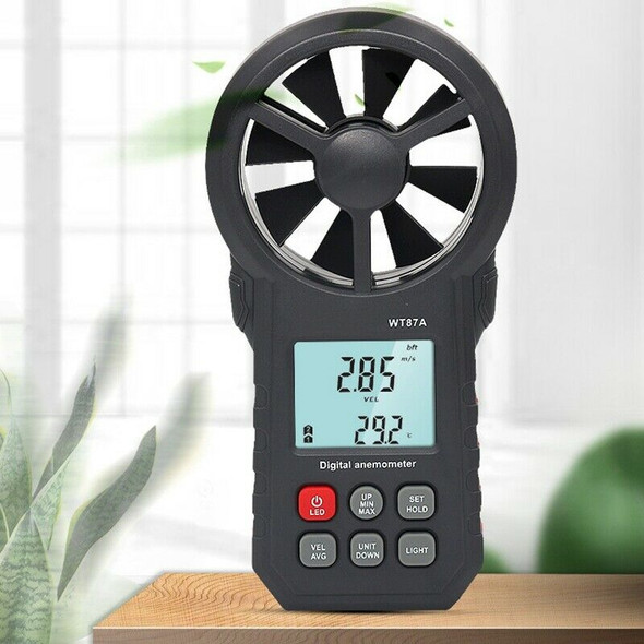 WT87A LCD Digital Anemometer Thermometer Anemometer Wind Speed Air Velocity