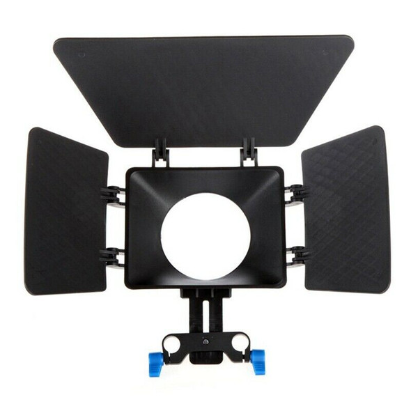 Matte Box Sunshade for 15mm Rail Rod Support DSLR 5DII 60D D90 550D 600D bl