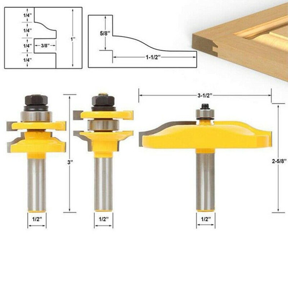 3 PCS Router Bit Set, 1/2-Inch Shaker Raised Panel Round Over Cabinet Door