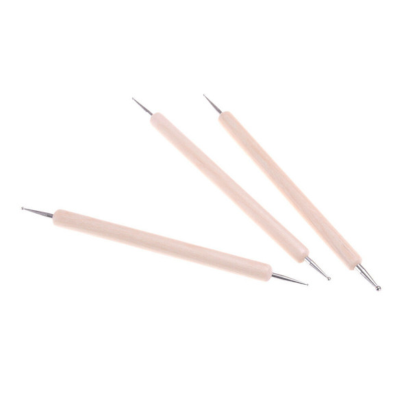 3x Ball Styluses Tool Set For Embossing Pattern Clay Sculpting MO