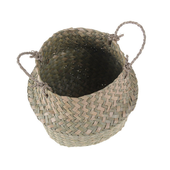 Basket Rattan Folding Wicker Handle Round Natural Sea Grass Plant Storage WoodOZ