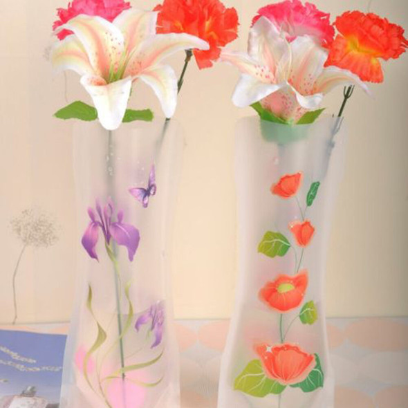 2X Foldable Collapsible PVC Plastic Flower Vase Container Party Wedding Xmas  №[