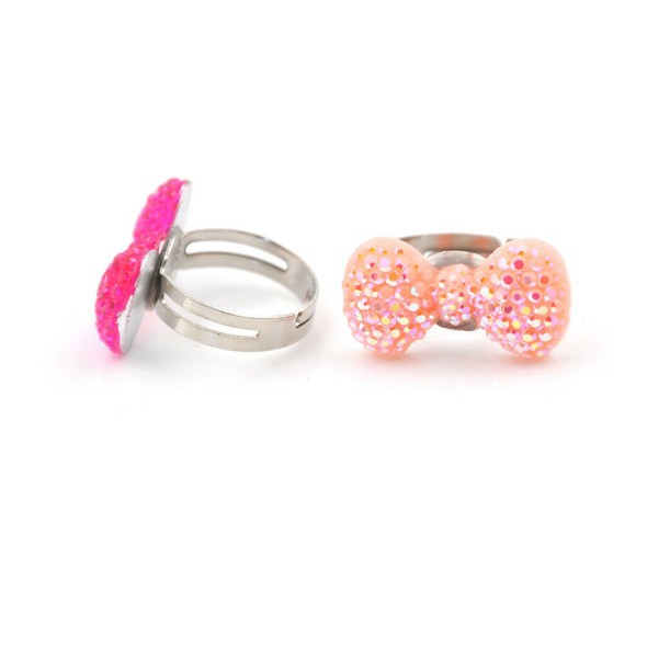 5Pcs Cute Heart Butterfly Rings Adjustable Jwewlry Kids Fashion Accessories@V