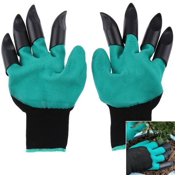 1 Pair Garden Gloves Plastic Rubber Glove With Claws Quick Easy Digging Plantin@