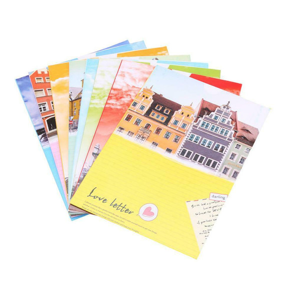 6in 8pcs Building Style Hanging Wall Album Kraft Decor with Rope Clips #gib