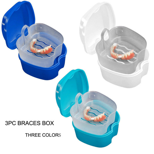Denture Bath Cases Dental False Teeth Storage Boxes with Hanging Net Container