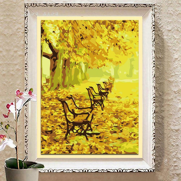 5D DIY Tree Bench Abstract Oil Paint By Numbers Kits Wall Picture Set #gib
