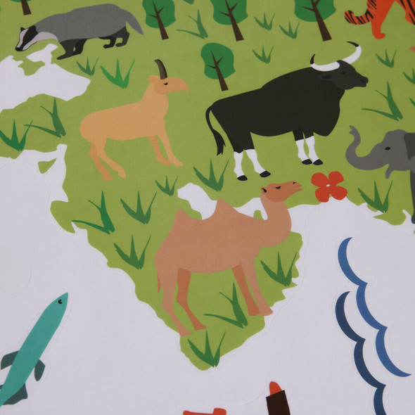 Removable Animal World Map Wall Stickers Home Bedroom Background Wall Decor #gib