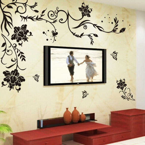 Flower Vine Removable Black Butterfly Wall Stickers Wall Decals Art Decor #gib