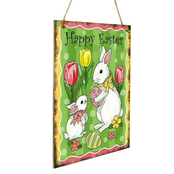 Happy Easter Rabbit Wood Hanging Plaque Ornament Home Wall Festival Pendant #gib