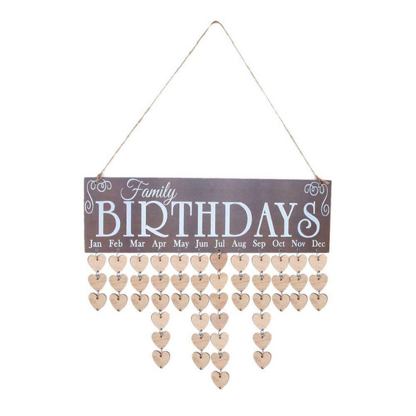 Wooden Calendar Board Family Special Dates Sign Birthday Mark Hanging Decor #gib