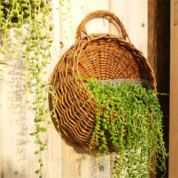 wicker brown wood wall hanging pocket basket flat back door decoration!j