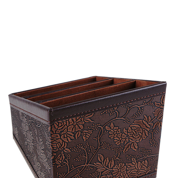 Retro PU Storage Box Container Case Flower Patterned with 3 Compartments #gib