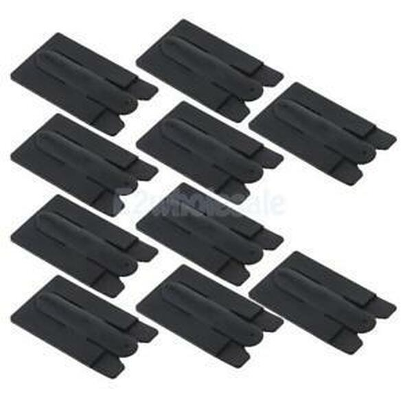 10Pcs 2in1 Silicone Cell Phone Adhesive Holder Credit Card Pouch Stand Black