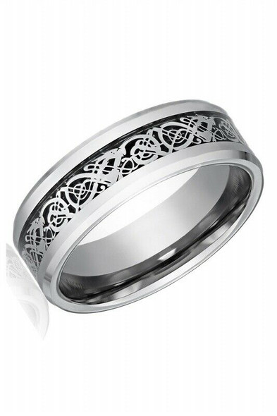 Dragon Scale Dragon Pattern Beveled Edges Celtic Rings Jewelry Wedding Band V1Y4