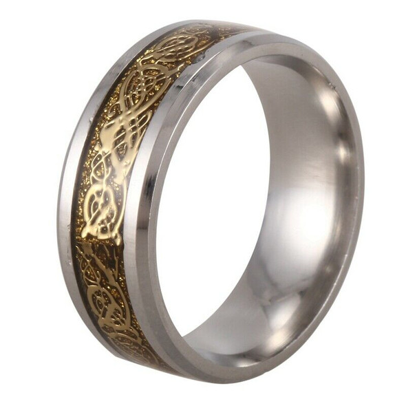 Dragon Scale Dragon Pattern Beveled Edges Celtic Rings Jewelry Wedding Band D9S3
