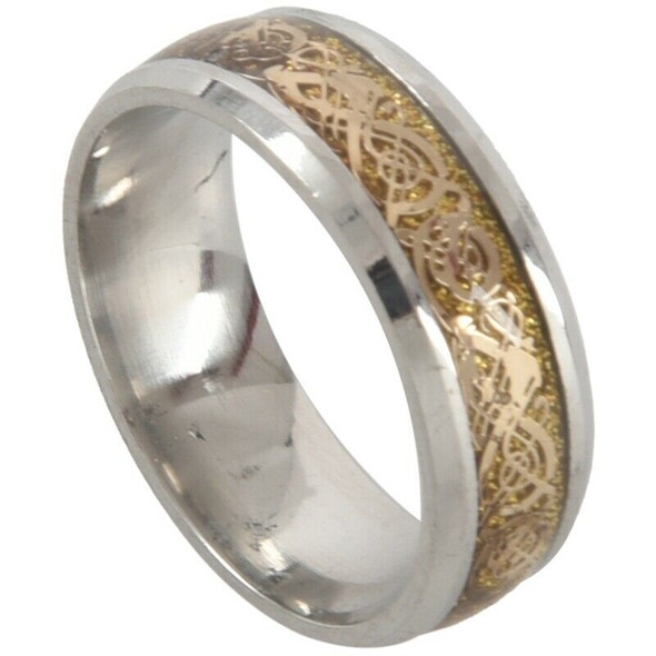 Dragon Scale Dragon Pattern Beveled Edges Celtic Rings Jewelry Wedding Band I9R5