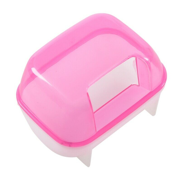 Pink White Small Hamsters Bathing Sand Cage Pet Bathroom 10 x 7 x 7cm R4T9