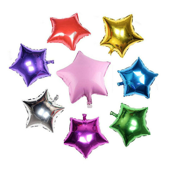 8 pcs Mix color five-pointed star helium foil balloons S6K4