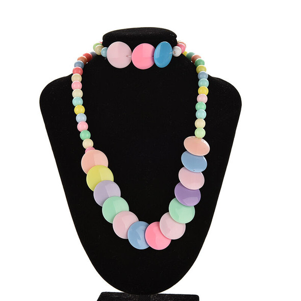 Colorful Beads Necklace&Bracelet Set Party Jewelry for Kids Baby Girls  3C