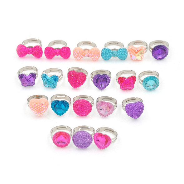 5Pcs Lovely Heart Butterfly Rings Adjustable Jwewlry Kids Fashion Accessories 3C