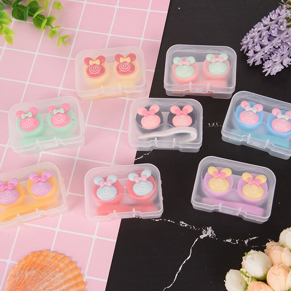 Lovely S multicolor mini portable contact lens case holder contact lenses box FT