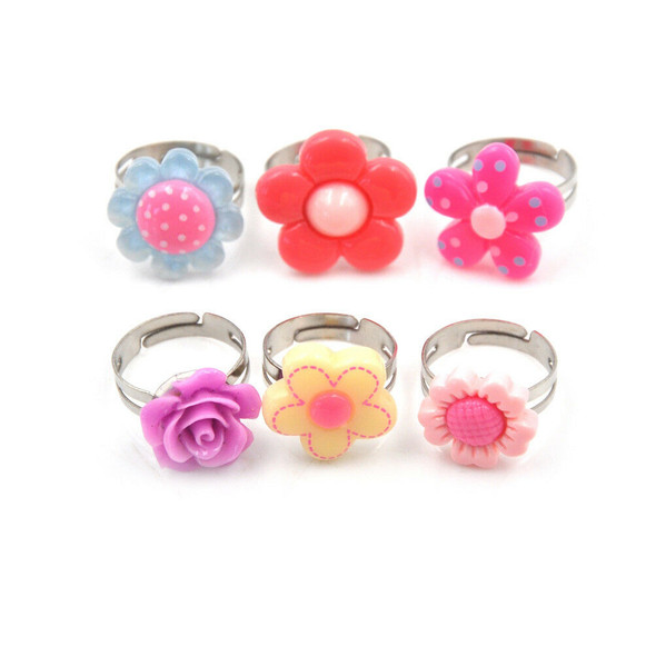 5Pcs Lovely Children Flower Rings Adjustable Jwewlry Kids Fashion Accessories FT