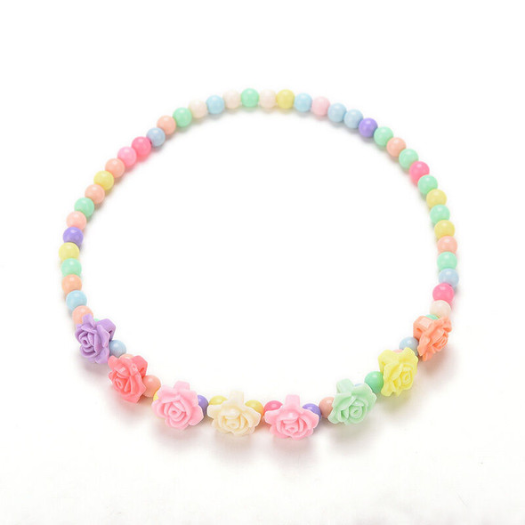 Princess Necklace Bracelet Set for Baby Party Jewelry Girls Gift Rose Shape FT