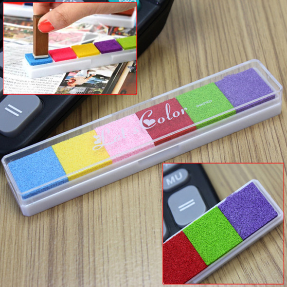 Oil-based Rubber MultiColor Stamps Paper Inkpad Oil Ink Pad Craft DIY 6 Colors