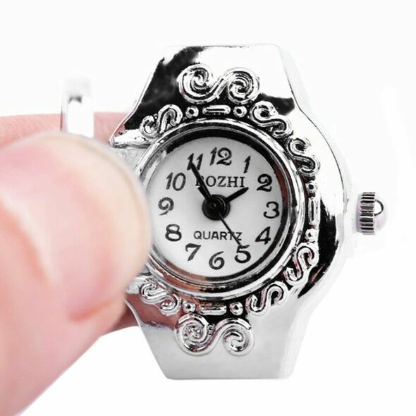Women Dial Quartz Analog Finger Ring Watch Elastic Gift Creative Fashion Steel
