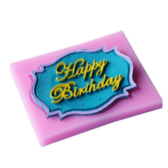 Happy Birthday silicone mold chocolate fondant cake decor baking Tool uten JR