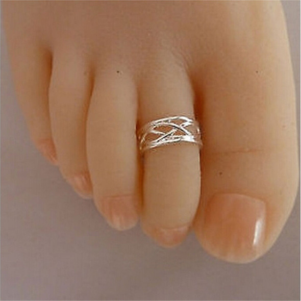 2016 Celebrity Fashion Simple Sliver Plated Adjustable Toe Ring Foot Jewelry ES