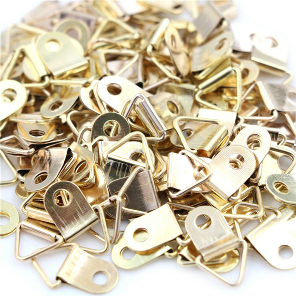 100pcs Mini Golden Triangle D-Ring Picture Photo Frame Hook Hanger 10x20mm ES