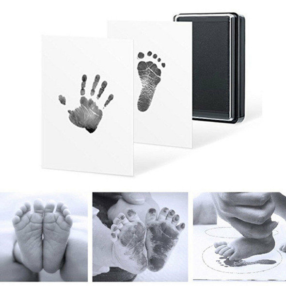 Baby Footprint Kit Easy Clean Baby-Safe Black Ink Pad For Hand Footprints