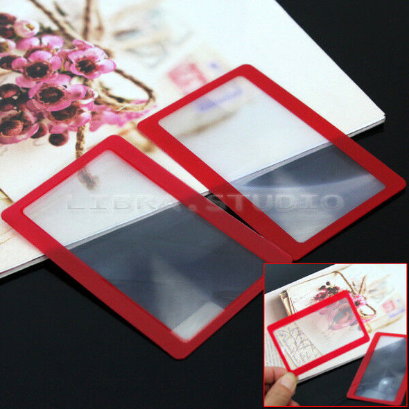 2x Handy Pocket Credit Card Sized PVC Wallet Clip Reading Magnifying Magnifier