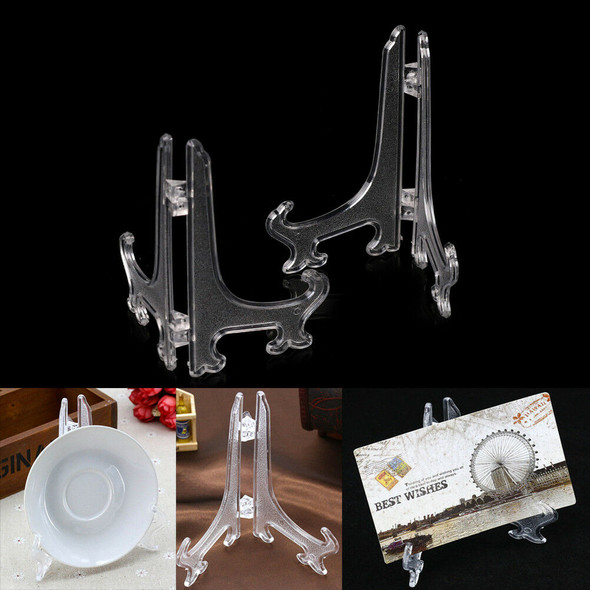 """2x 9"""" Clear Plastic Plate Photo Display Stand Picture Frame Easel Holde In HA3C"""