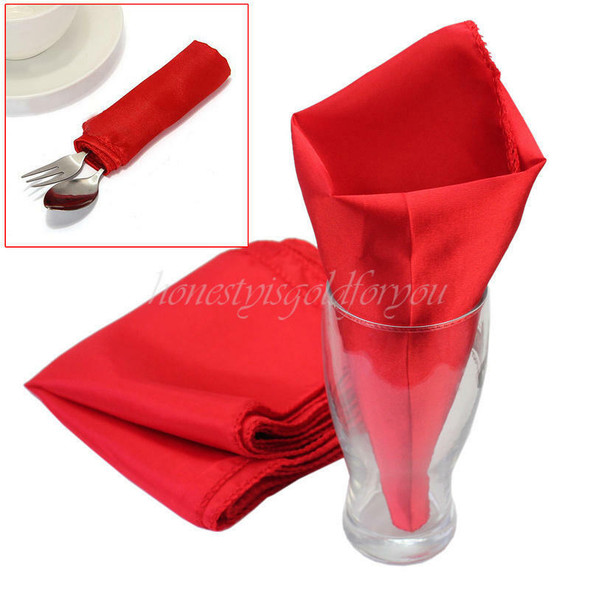 10Pcs 28x28cm Red Handkerchief Wedding Party Home Dining Table Cloth Napkins