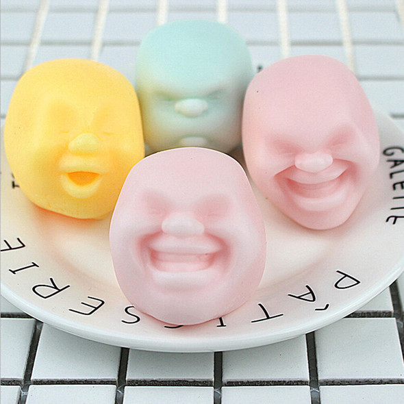 Stress Pressure Reliever Anti-stress Squeeze Face Balls Toys Gifts BX