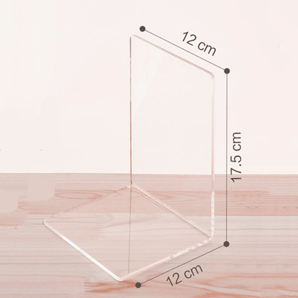 1x Plastic Clear Acrylic Bookend Organizer Stand Stationery Book Shelf Holder