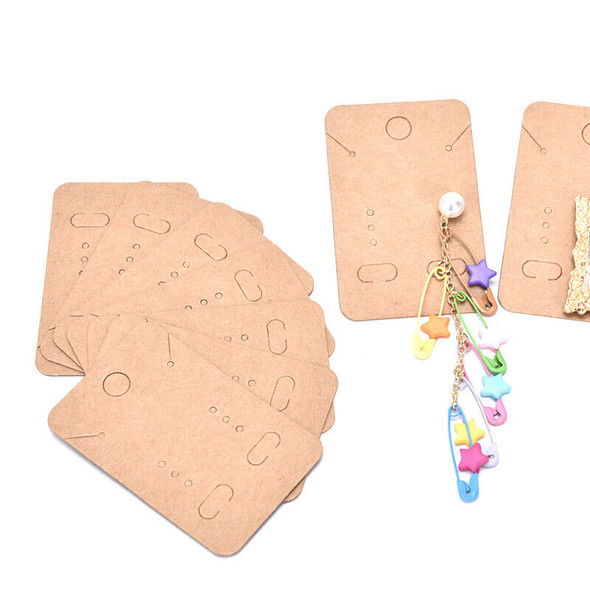 100Pcs  Earrings Necklace Holder Display Cards Jewelry Display Kraft Cards Lab&+