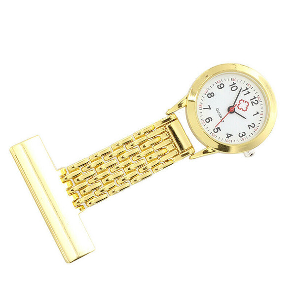 Watch nurse brooch quartz movement square golden color portable B2Y3