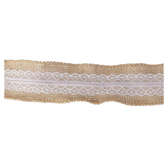 5M natural Hessian sackcloth with Lace Ribbon 5CM wide brown P5C1