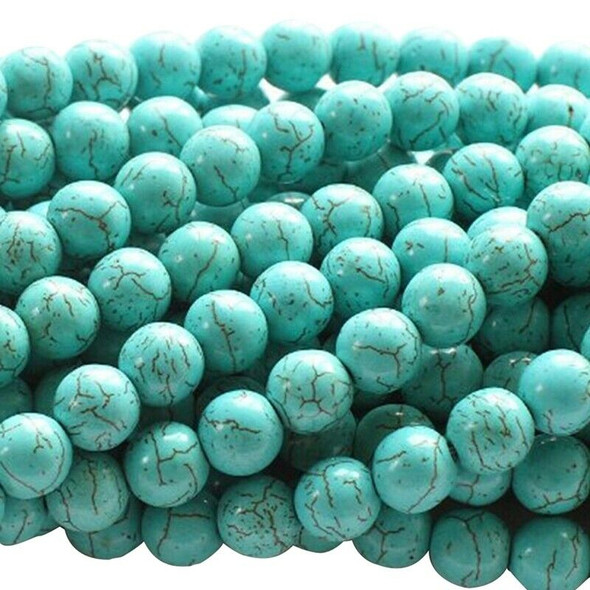 5X(Turquoise Howlite 4mm Round Beads for DIY Jewelry Making 13.8 Inch StranU2H7)